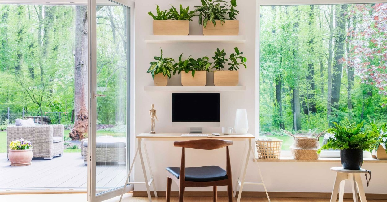 Home office with plants with window showing forest view